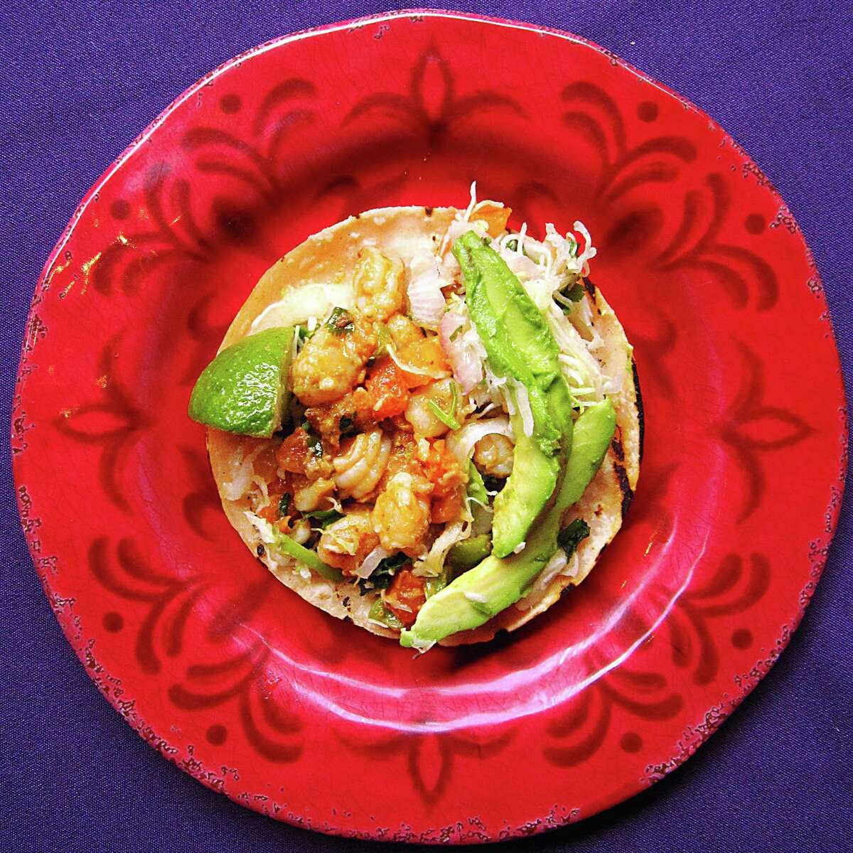 Shrimp taco on a handmade corn tortilla from Ácenar.