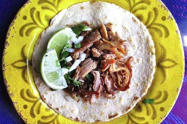 Morcon (pig cheek) taco on a handmade corn tortilla from Restaurante El D.F.