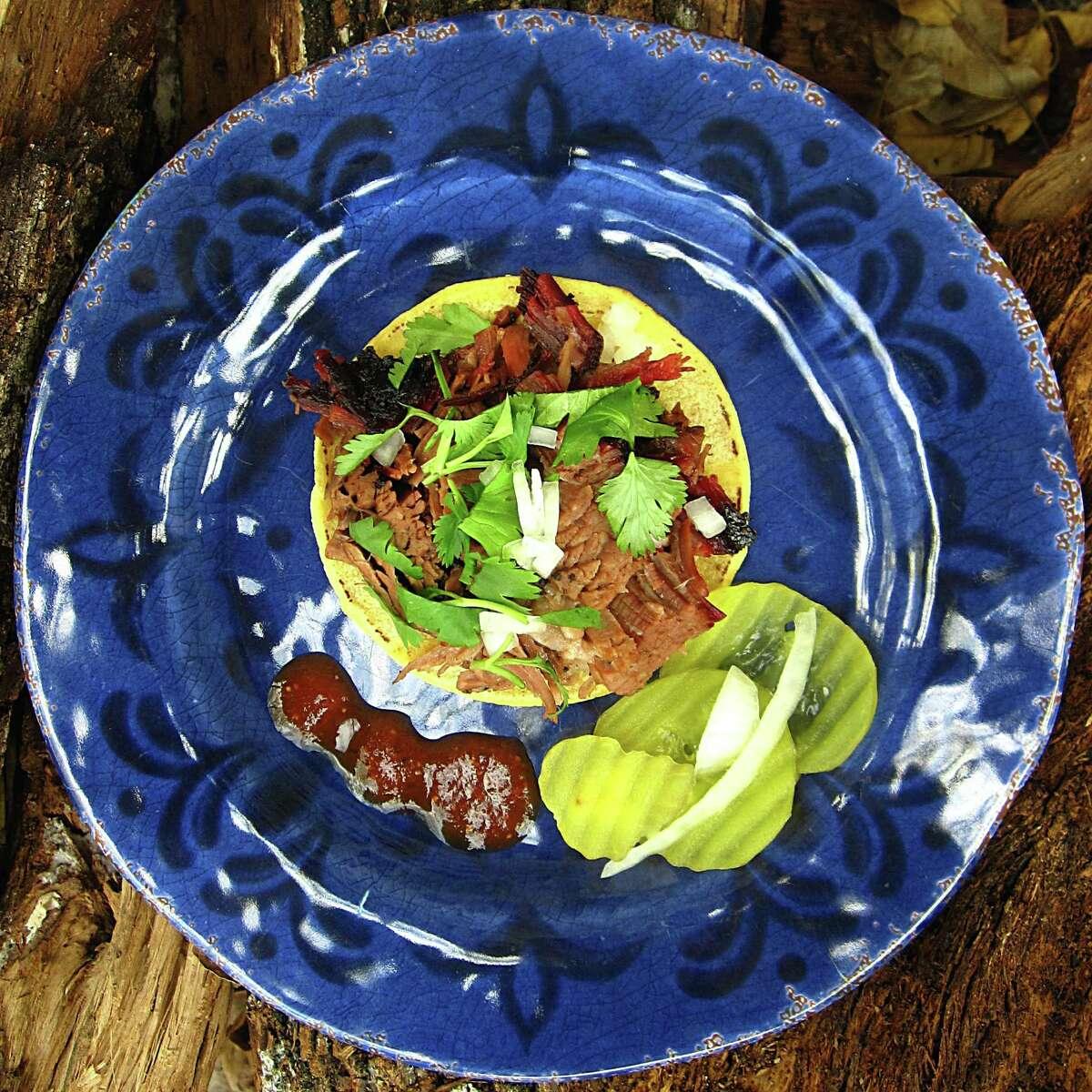 Brisket taco on a mini corn tortilla from King's Hwy Brew & Q.