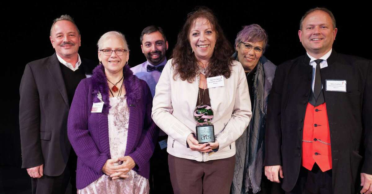 TheatreWorks New Milford recently attended the CultureMAX Awards at the Warner Theatre in Torrington to accept its award for #1 Cultural Organization in the region. Representing TheatreWorks are, from left to right, Viv Berger, Mary Kimball, Matt Austin, Christine Daley, Beth Plotkin and Glenn Couture.