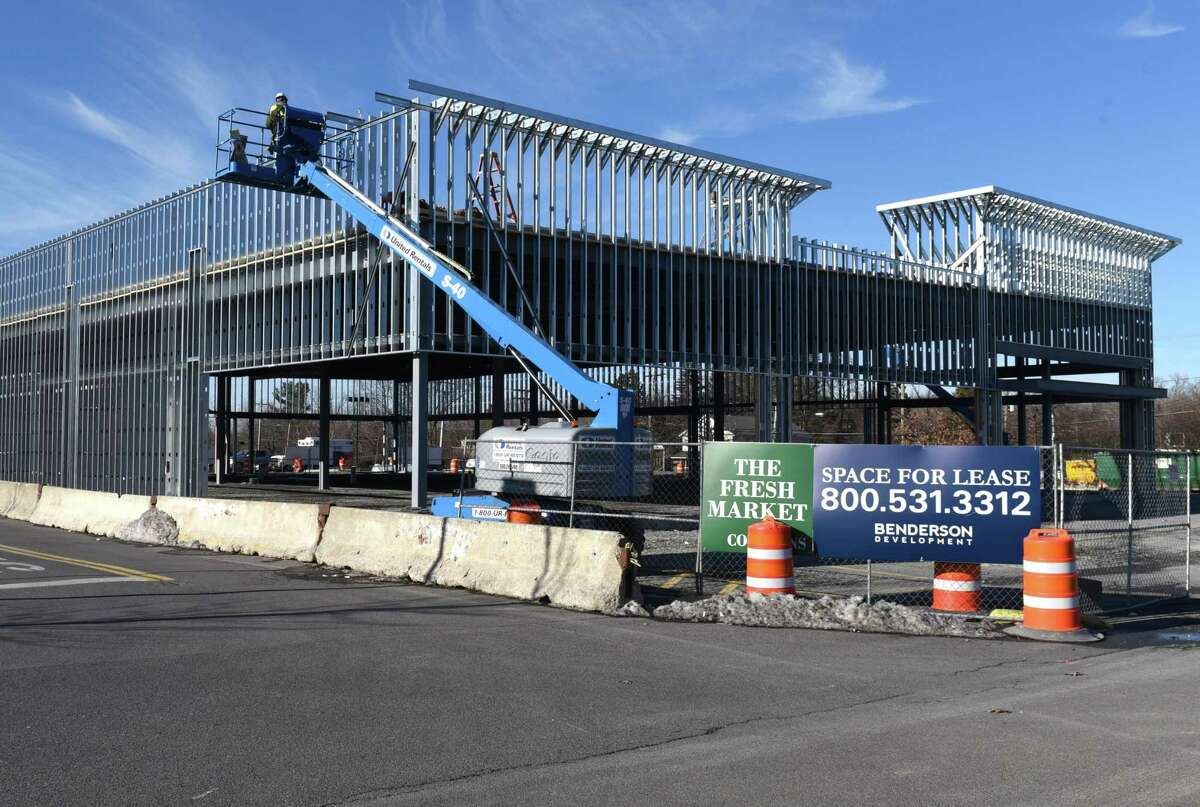 Construction of a new building in Fresh Market Commons takes place on Thursday, Dec. 21, 2017 in Colonie, N.Y. (Will Waldron/Times Union)