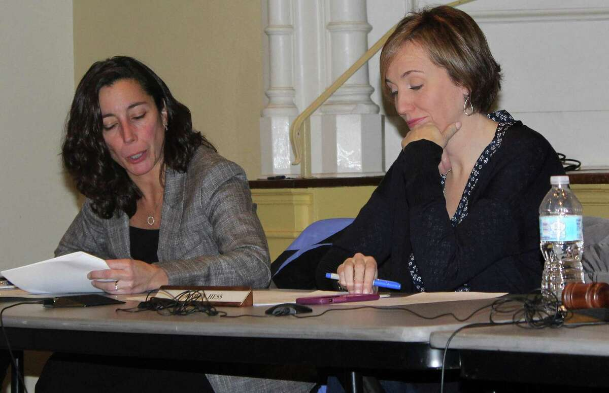 Westport Parks and Recreation Department Director Jennifer Fava sits next to Parks and Recreation Commission member Karen Hess at the Dec. 20 meeting in Town Hall.