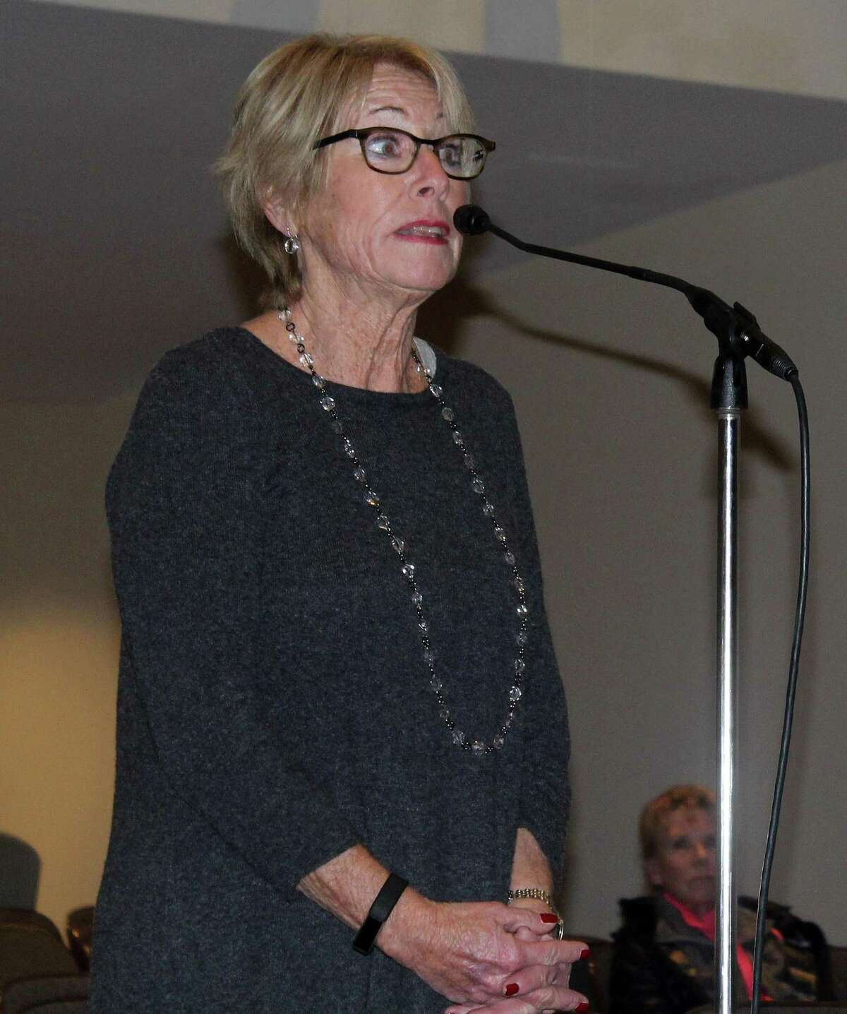 Westport resident Judy Holod spoke about Compo Beach conditions last summer at a Park and Recreation Commission meeting on Dec. 20 in Westport Town Hall.