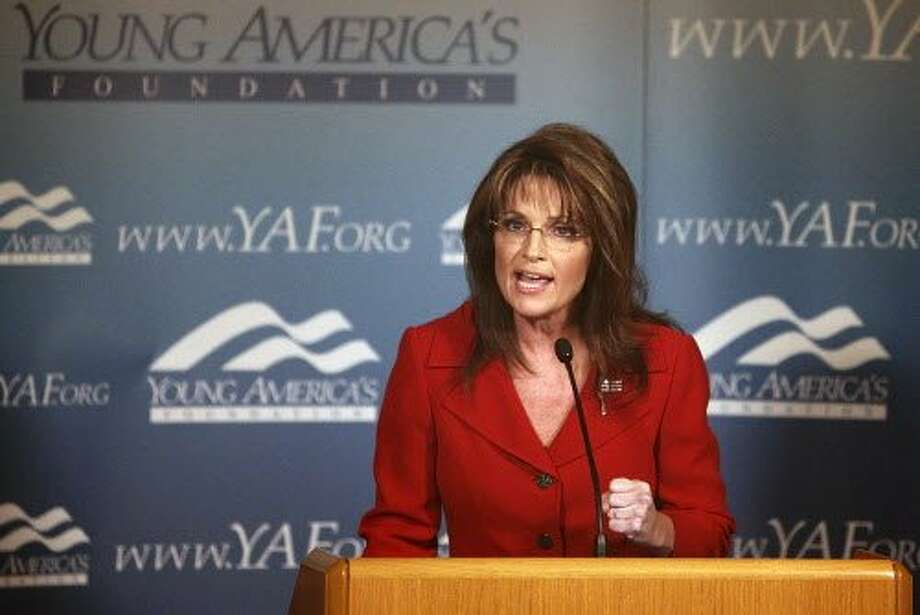 Former Alaska Gov. Sarah Palin n vice presidential candidate and Alaskan Gov. Sarah Palin speaks at the Reagan Ranch Center in Santa Barbara, Feb. 4, 2011. Palin is the headline speaker for the Ronald Reagan Centennial celebration opening reception hosted by the Young Americans Foundation. (AP Photo/Spencer Weiner) Photo: Spencer Weiner, AP