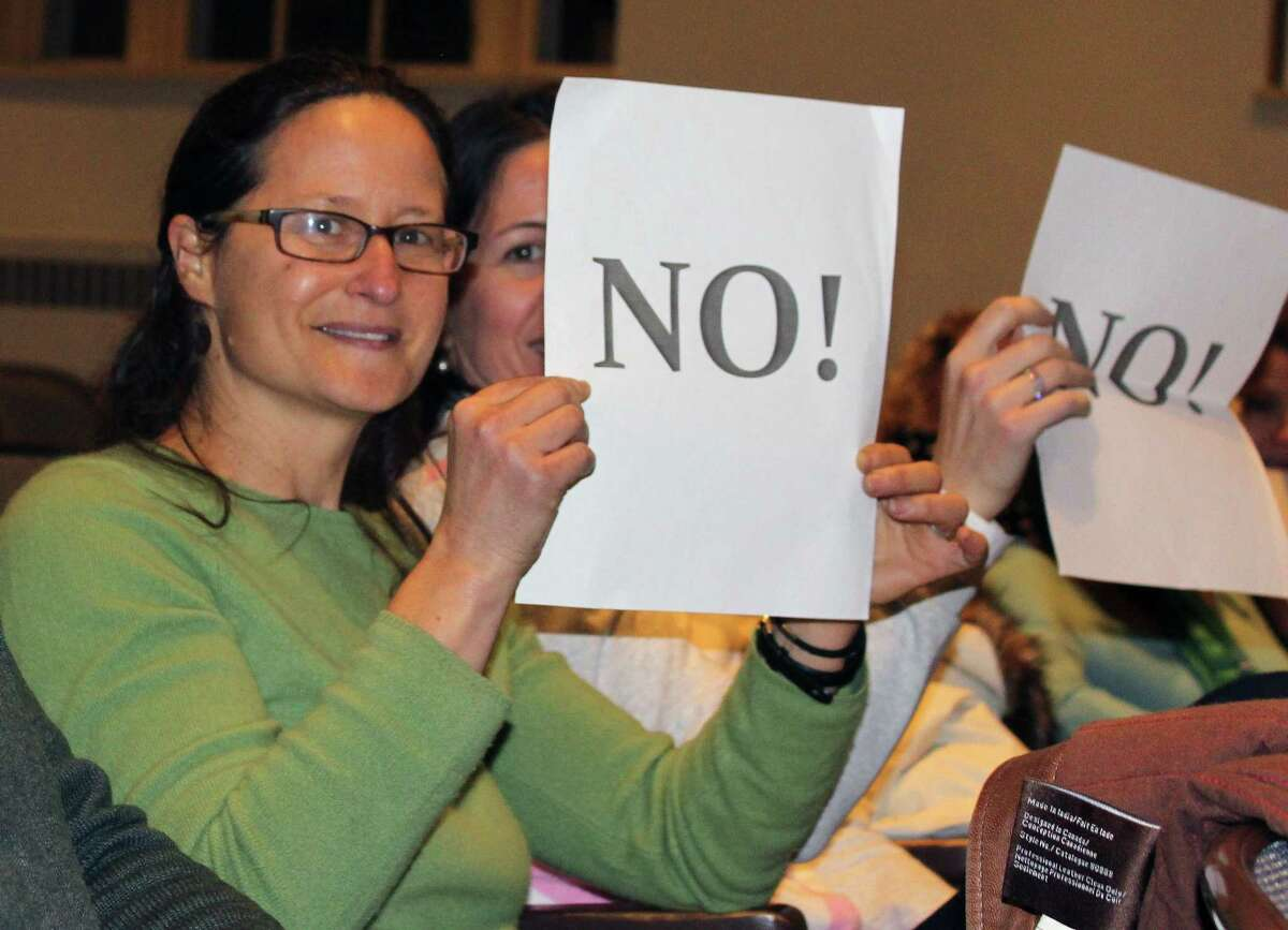 Bonnie Dubson and Anca Micu held signs at a public hearing in Westport Town Hall The two were opposing a proposed small home development at 500 Main St.