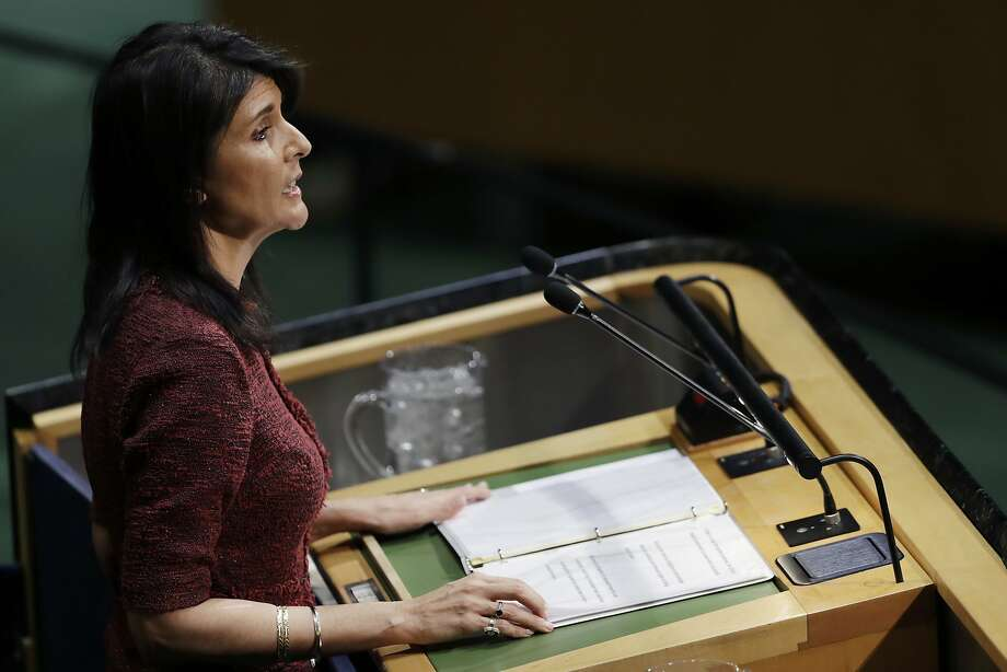"""U.S. Ambassador Nikki Haley said the United States would """"remember this day"""" when it was singled out for exercising its sovereignty. Photo: Mark Lennihan, Associated Press"""