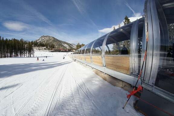 The enclosed conveyor at Mount Rose is the first of its kind and protects against winter wind and snow.