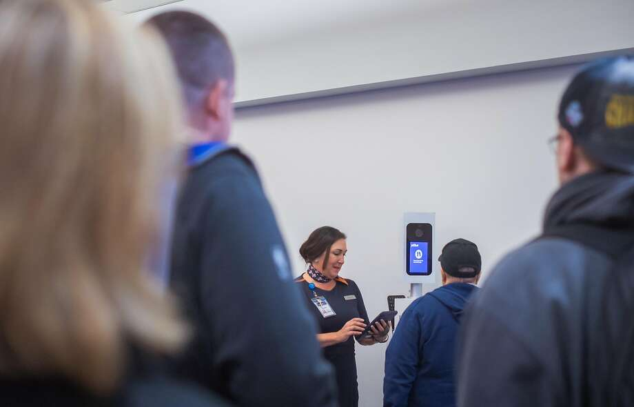 A biometric system of facial recognition software being tested by the Department of Homeland Security that can be used either with a small portable hand-held device or a kiosk equipped with a camera, at Logan International Airport in Boston, Aug. 8, 2017. A new report released in late 2017 concludes that a Department of Homeland Security pilot program improperly gathers data on Americans when it requires passengers embarking on foreign flights to undergo facial recognition scans to ensure they havenÕt overstayed visas. (Gretchen Ertl/The New York Times) Photo: GERTHEN ERTL, NYT