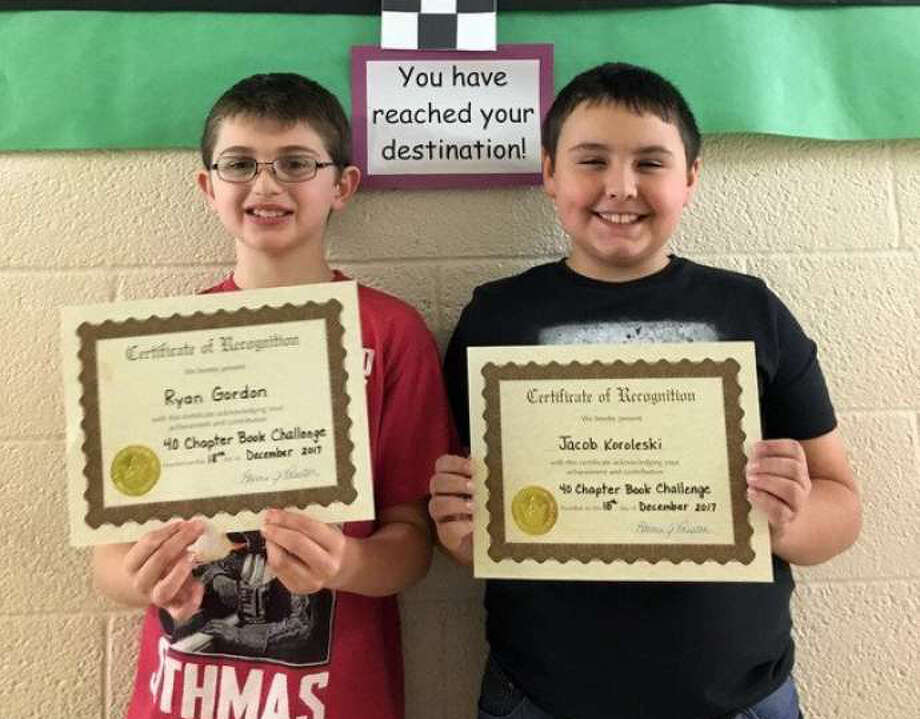North Huron Elementary 4th grade students, Ryan Gordon and Jacob Koroleski, completed the school's reading challengeon Dec. 18. (Submitted Photo)