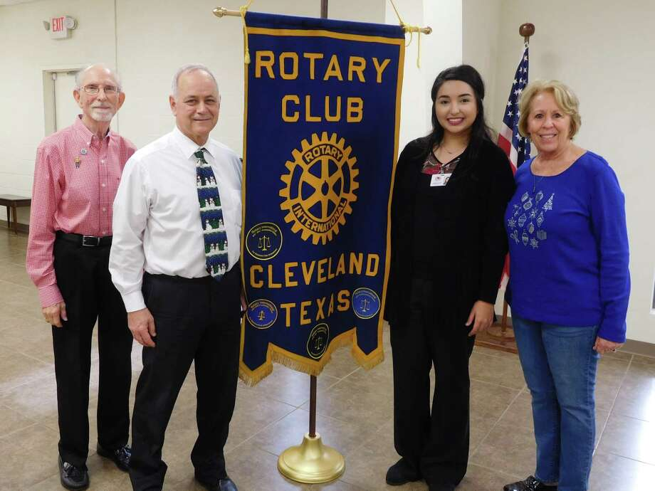 Alejandra Ruiz (second from the right) was the guest speaker at the Dec. 20 noon luncheon of the Cleveland Rotary Club. She is pictured with Rotarian Tommie Daniel, Rotarian and speaker host Steve Racciato, and Rotarian and District 5910 Assistant District Governor Ernestine Belt. Photo: Submitted
