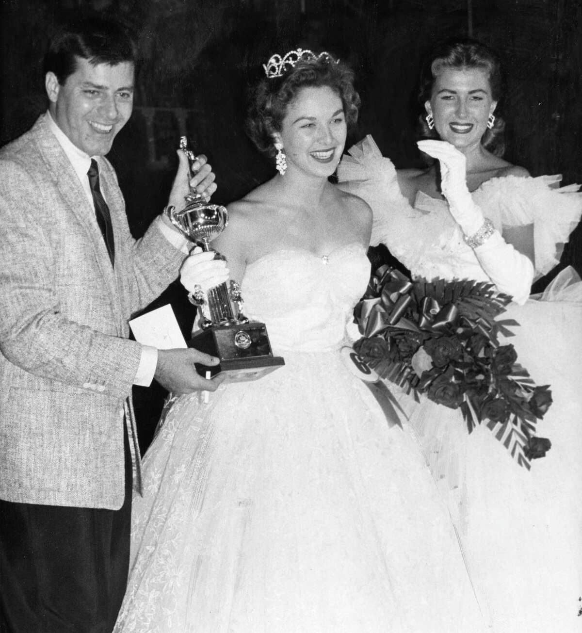 From the July 15, 1957, Houston Post: Miss Houston crowned in Jaycee-sponsored pageant. From left, Jerry Lewis, Gaylynn Baker and Barbara Murray.