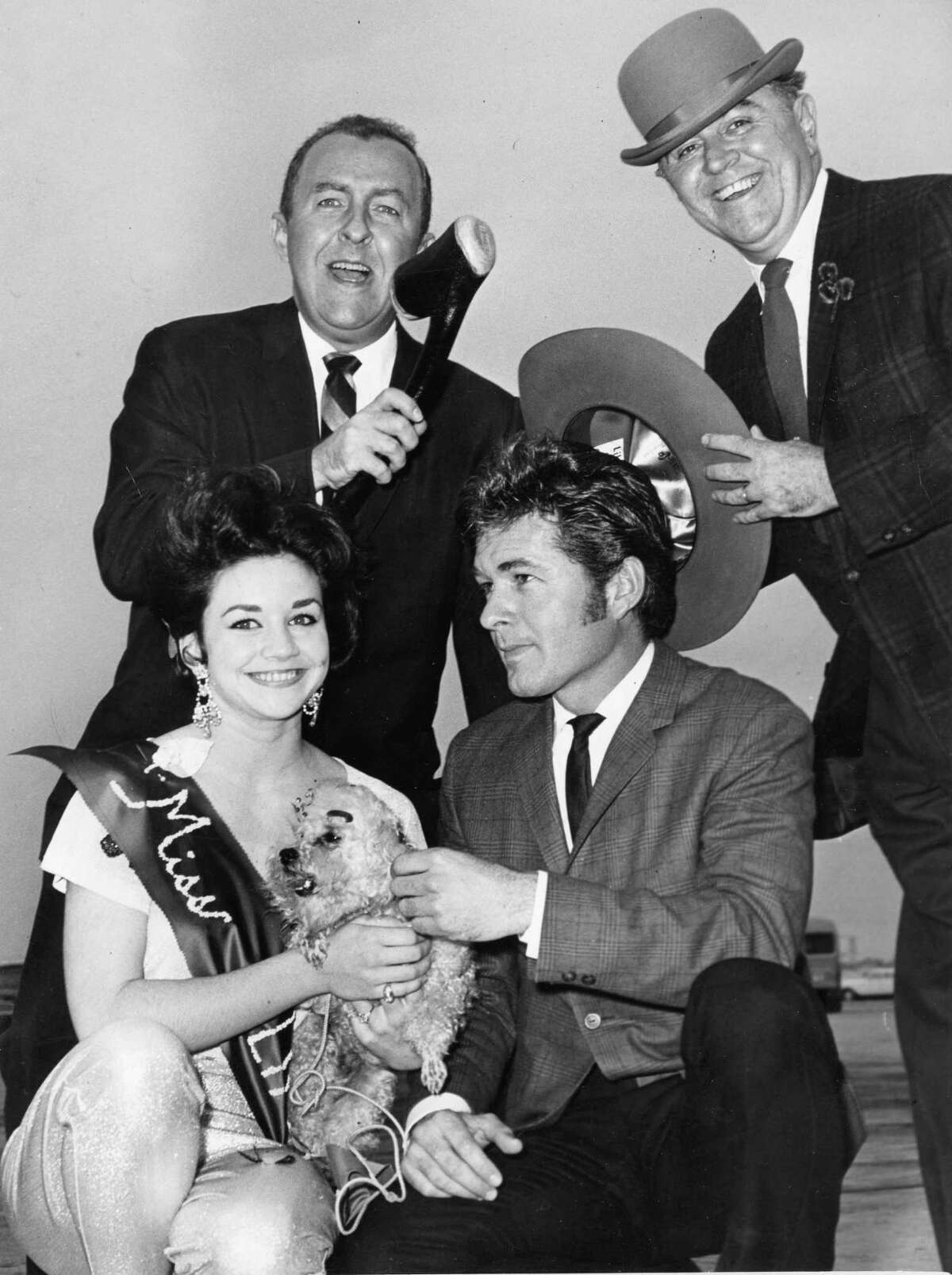 From the March 18, 1963, Houston Post: KPRC's Tim and Bob spoof with Miss Sandy Aycock and Gary Clarke of television fame, seated, at Houston's International Airport after Clarke arrived by plane from Los Angeles to join the others in the Saint Patrick's Day parade at 10 a.m. Monday in downtown Houston. Miss Aycock, 17, has been elected