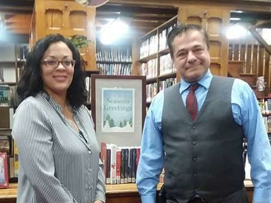 New Library Director Jennifer Lester, left, and Ansonia Mayor David Cassetti are photographed at the library. Photo: Hearst Connecticut Media