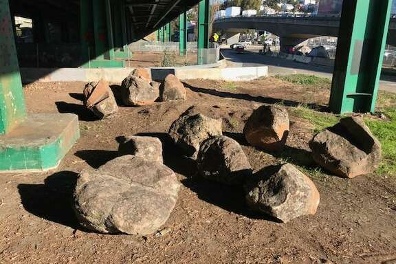Boulders meant to discourage homeless tent camps were placed under Highway 101 near Cesar Chavez Street in San Francisco in December.
