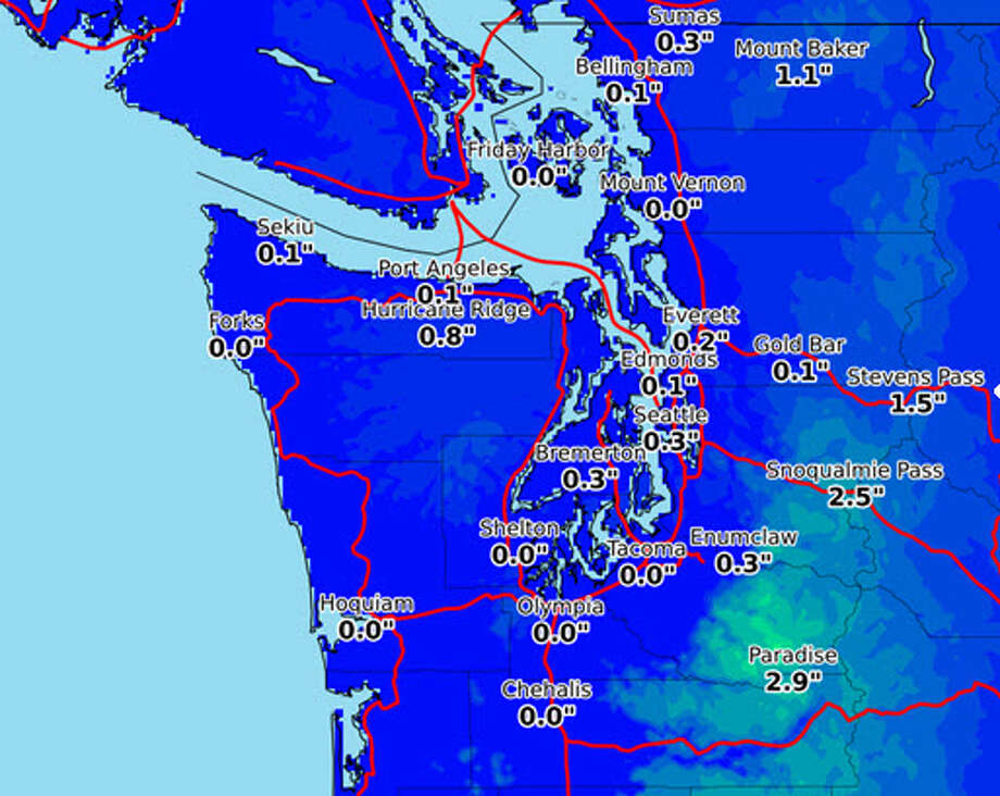 A light snow may fall Friday morning across Western Washington. The map above shows potential accumulation levels in inches. Click through for a look at some of SeattlePI's best snow photos. Photo: National Weather Service