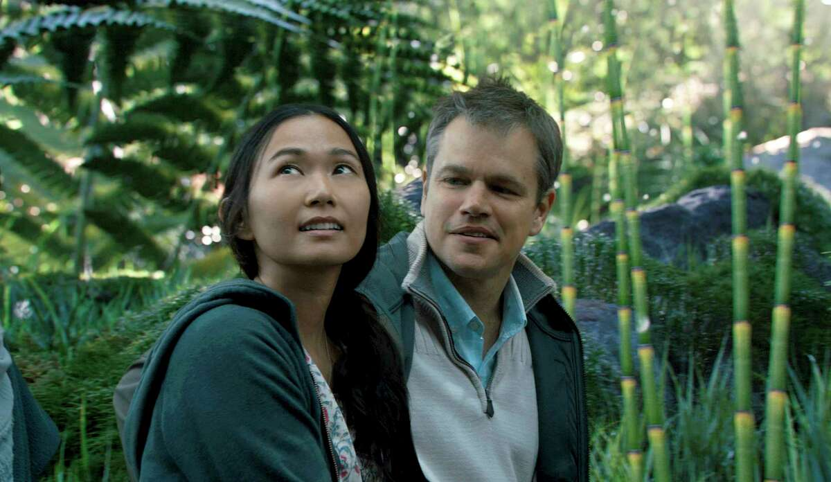 In this image released by Paramount Pictures, Hong Chau, left, and Matt Damon appear in a scene from