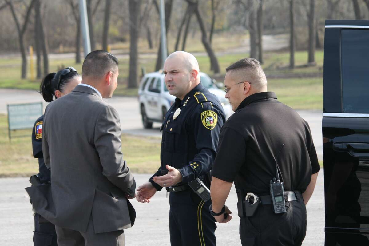 Bexar County Sheriff Javier Salazar on scene after 6-year-old Kameron Prescott was fatally shot when Bexar County sheriff's deputies opened fire on a woman at a Schertz mobile home park after a lengthy manhunt Thursday, Dec. 21, 2017. The woman - a wanted felon and a suspect in a car theft - also was killed by the gunfire.