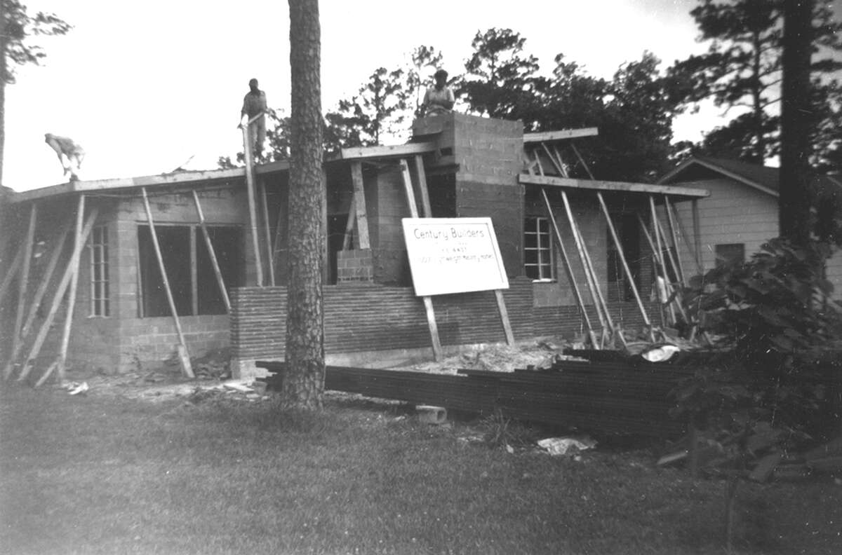 This photo shows the Minella House while under construction in the 1950s.