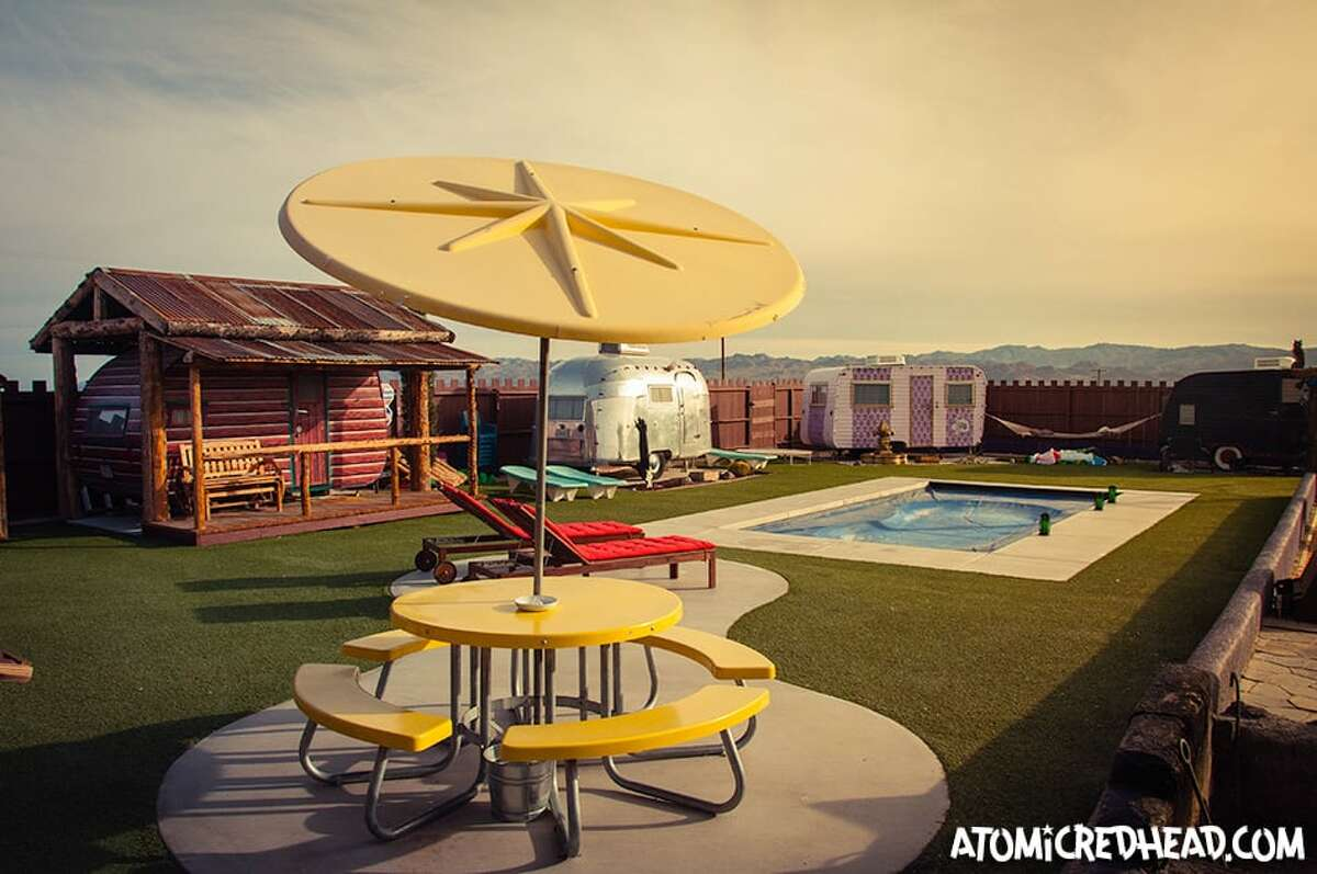 In keeping with Joshua Tree's history of providing a haven for creative folk is the Hicksville Trailer Palace and Artist Retreat. The communal-style site is an odd amalgam of funky trailers of various themes - there's a Western-theme trailer with cowboy curtains, a hot pink one called