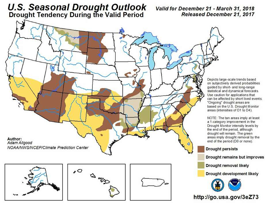 The Climate Prediction Center released its U.S. Seasonal Drought Outlook map for Dec. 21 through March 31, 2018. Photo: Climate Prediction Center / NOAA