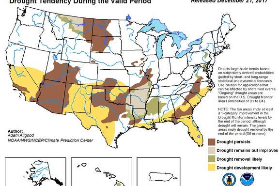 The Climate Prediction Center released its U.S. Seasonal Drought Outlook map for Dec. 21 through March 31, 2018.