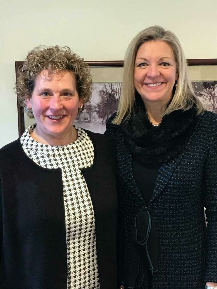 Sally Bowman (left) owner of Cheshire-based Sally Bowman Real Estate, and Candace Adams, chief executive officer of Berkshire HathawayHomeServices New England Properties. Bowman's firm was acquired byBerkshire HathawayHomeServices New England Properties in a deal that closed Wednesday. Photo: Contributed Photo