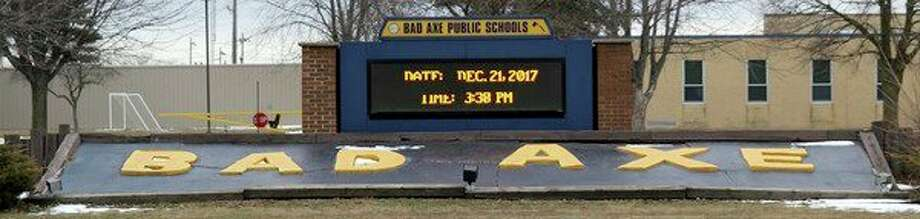 The sign in front of Bad Axe Middle School will be replaced with a new multi-color sign after action by the Bad Axe Board of Education Monday. Replacing the sign, though, still needs to be approved by the Bad Axe City Council. (Chip Burch/Huron Daily Tribune)