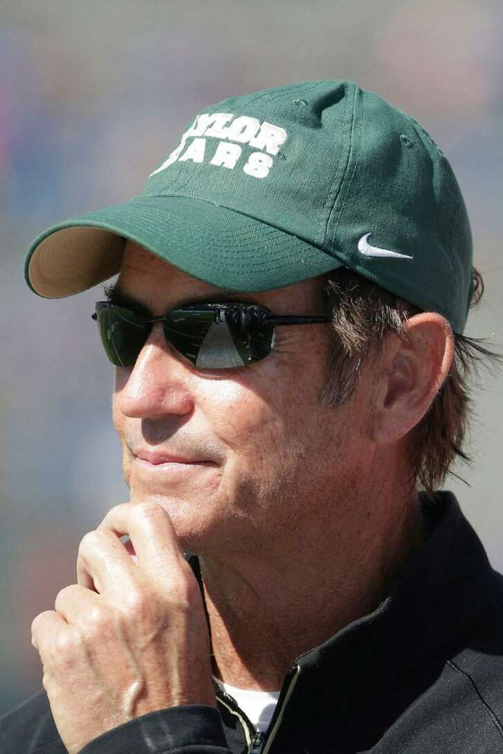 Baylor head coach Art Briles watches during the second half of an NCAA college football game against Kansas Saturday, Oct. 10, 2015, in Lawrence, Kan. Baylor won 66-7.