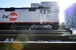 A train sits on the tracks at the CalTrain Station in San Francisco, Calif., on Thursday December 21, 2017.