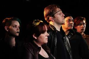 "Brandi Stillwell (from left), Morgan Clyde, Michael Burger, Robert Jerdee and Allie Smith star in ""Cortez: Echoes,"" the new serial continuing ""The Adventures of Captain Cortez and the Tri-Lambda Brigade"" at the Overtime Theater."