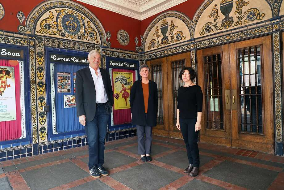 Rob Byrne, Anita Monga and Stacey Wisnia (right) at the Castro Theatre, home of the San Francisco Silent Film Festival. Photo: Scott Strazzante, The Chronicle