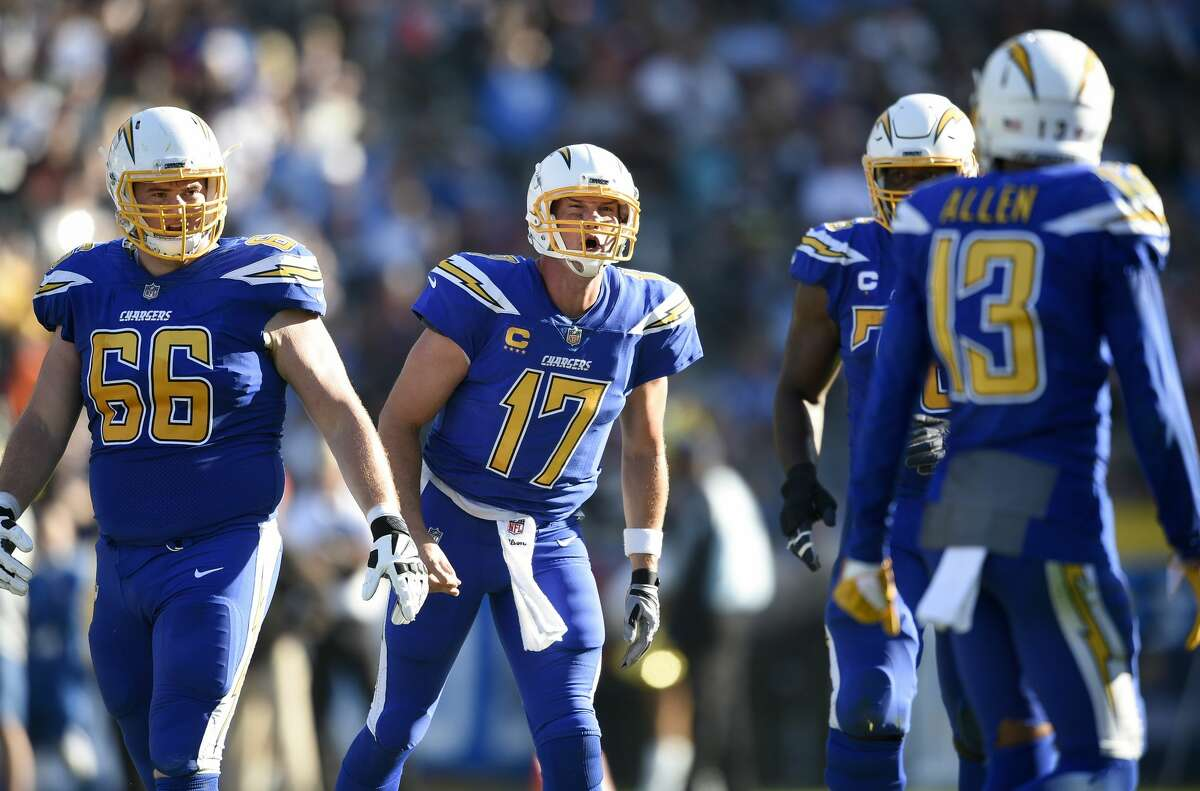 Los Angeles Chargers quarterback Philip Rivers in action during an NFL football game against the Cleveland Browns in Carson, Calif., Wednesday, Dec. 6, 2017. (AP Photo/Kelvin Kuo)