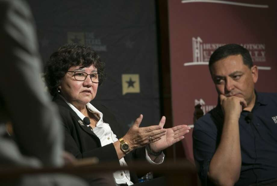 Democratic gubernatorial hopeful Lupe Valdez, shown here at a January 2017 Texas Tribune event, said unauthorized immigrants account for 1.6 percent of crime--a claim we rated HALF TRUE (Reshma Kirpalani/Austin American-Statesman photo).