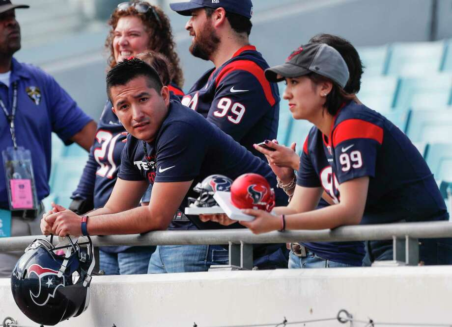 Houston Texans fans watch warm-ups before the Dec. 17 NFL football game against the Jacksonville Jaguars at EverBank Field in Jacksonville. The Jaguars defeated the Texans 45-7  ( Brett Coomer / Houston Chronicle ) Photo: Brett Coomer, Staff / © 2017 Houston Chronicle