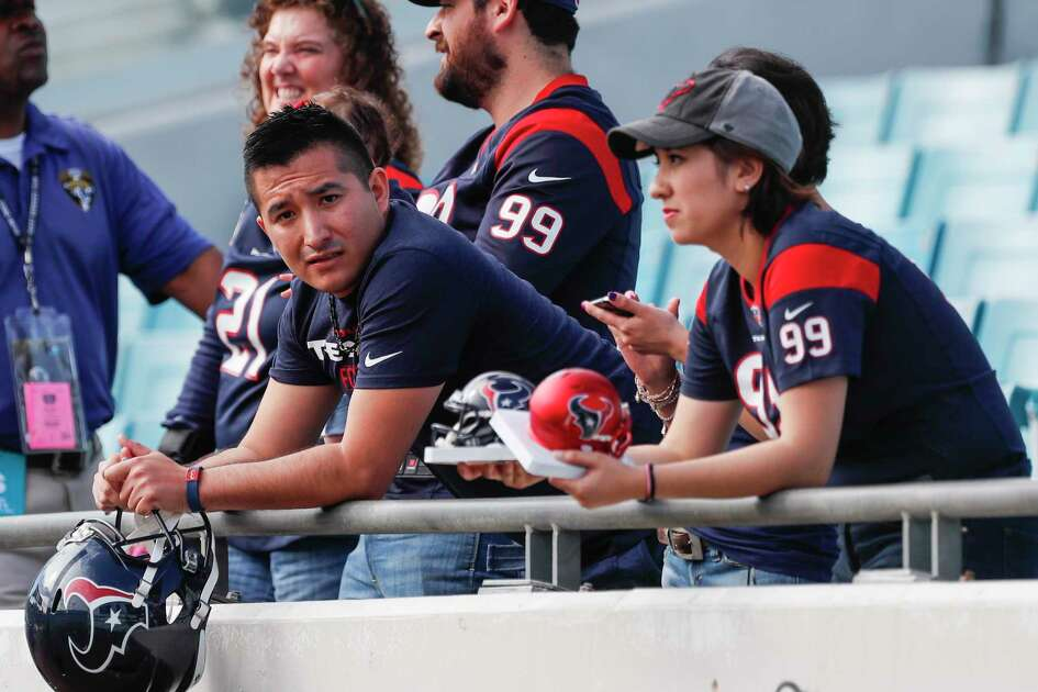 Houston Texans fans watch warm-ups before the Dec. 17 NFL football game against the Jacksonville Jaguars at EverBank Field in Jacksonville. The Jaguars defeated the Texans 45-7 ( Brett Coomer / Houston Chronicle )