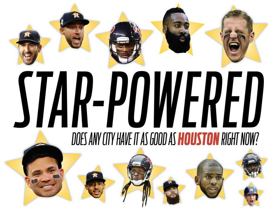 From the Astros to the Rockets to the Texans, Houston's pro teams aren't lacking any star power right now. Those stars include, clockwise from top left, Justin Verlander, George Springer, Deshaun Watson, James Harden, J.J. Watt, Jadeveon Clowney, Alex Bregman, Chris Paul, Dallas Keuchel, DeAndre Hopkins, Carlos Correa and Jose Altuve. Photo: Katie McInerney Photo Illustration / Houston Chronicle