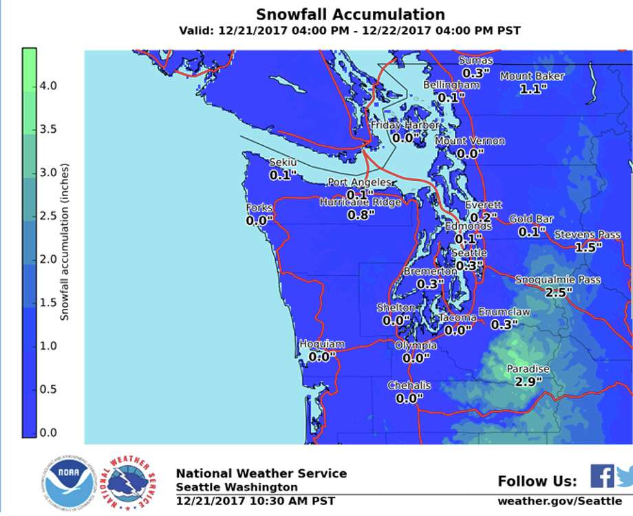 The National Weather Service predicted snow could hit Seattle Thursday night into Friday morning. Though it may not amount to much on the ground, it could be enough to make things slick for the morning commute. Keep clicking through to see traffic expectations from WSDOT. Photo: NOAA