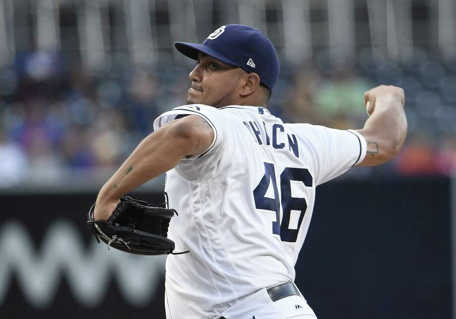 SAN DIEGO, CA - JULY 26: Jhoulys Chacin #46 of the San Diego Padres pitches during the first inning of a baseball game against the New York Mets at PETCO Park on July 26, 2017 in San Diego, California. (Photo by Denis Poroy/Getty Images) ORG XMIT: 700011772 Photo: Denis Poroy / 2017 Getty Images