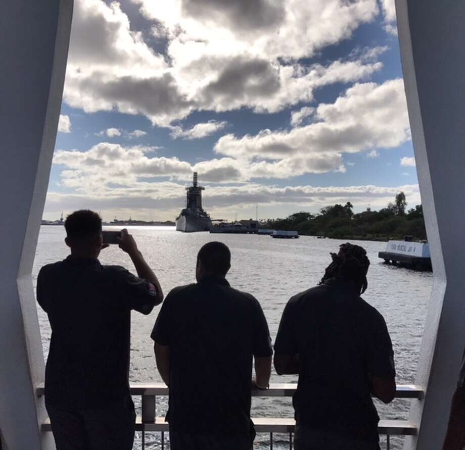 UH players visited the USS Arizona Memorial on Thursday. Photo: Armando Reveron