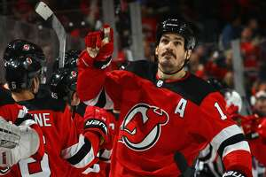 NEWARK, NJ - DECEMBER 21: Brian Boyle #11 of the New Jersey Devils celebrates his game tying powerplay goal at 11:54 of the third period at the Prudential Center on December 21, 2017 in Newark, New Jersey. The Devils defeated the Rangers 4-3 in the shootout.  (Photo by Bruce Bennett/Getty Images)