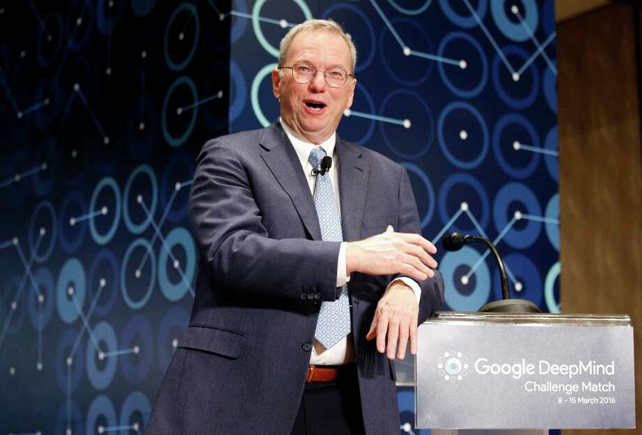 FILE- In this March 8, 2016, file photo, Eric Schmidt, executive chairman of Alphabet speaks during a press conference ahead of the Google DeepMind Challenge Match in Seoul, South Korea. Schmidt is stepping down as the executive chairman of Google parent Alphabet in January 2018. The company says he will become a technical adviser and will continue to sit on the board. (AP Photo/Lee Jin-man, File) Photo: Lee Jin-man, STF / Copyright 2017 The Associated Press. All rights reserved.