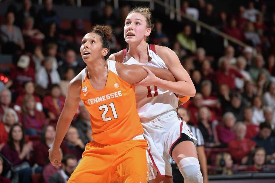Mercedes Russell of Tennessee boxes out Stanford Forward Alana Smith during an NCAA women's basketball game between Stanford and Tennessee at Maples Pavilion in Stanford, Calif. on Thursday December 21, 2017. Photo: John Todd / ISIPhotos / John Todd / ISIPhotos / JOHN TODD