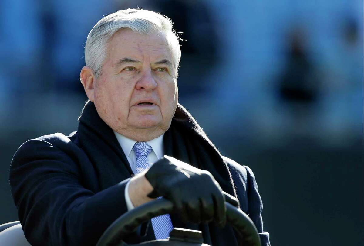FILE - In this Sunday, Dec. 14, 2014 file photo, Carolina Panthers' owner, Jerry Richardson looks on before an NFL football game against the Tampa Bay Buccaneers in Charlotte, N.C. The NFL made it clear Thursday, Dec. 21, 2017 it isn?'t forcing Panthers owner Jerry Richardson to sell the team while he is under investigation for sexual and racial misconduct in the workplace. (AP Photo/Bob Leverone, File)