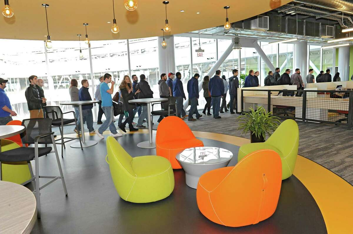 CommerceHub employees get their first look at the newly finished space in ZEN building at CNSE in Friday, March 4, 2016 in Albany, N.Y. (Lori Van Buren / Times Union)