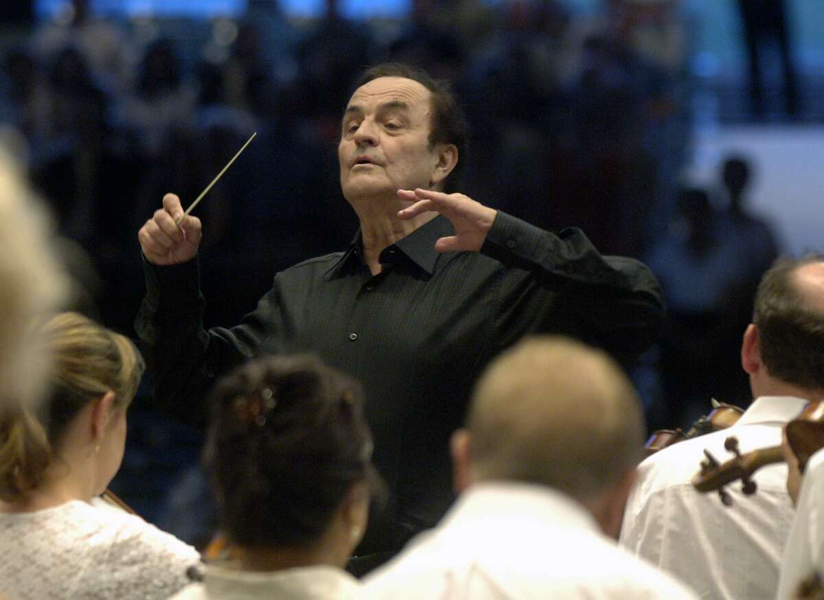 Times Union Photo by James Goolsby-Aug. 1, 2007-Charles Dutoit, conducts the Philaderlphia Orchestra. At the Saratoga Performing Arts Center. In Saratoga N.Y.