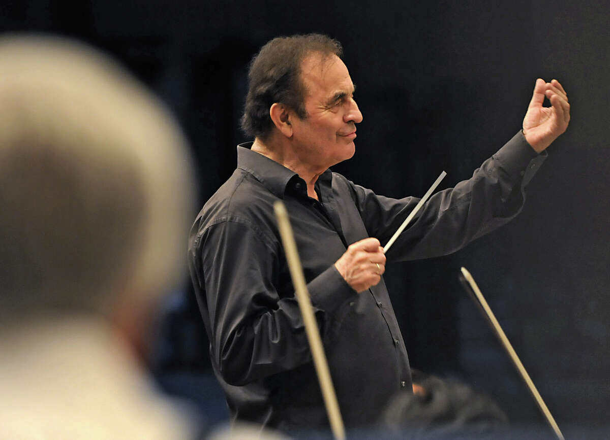 Charles Dutoit conducts the Philadelphia Orchestra on opening night at the Saratoga Performing Arts Center in Saratoga Springs, NY on August 4, 2010. (Lori Van Buren / Times Union)