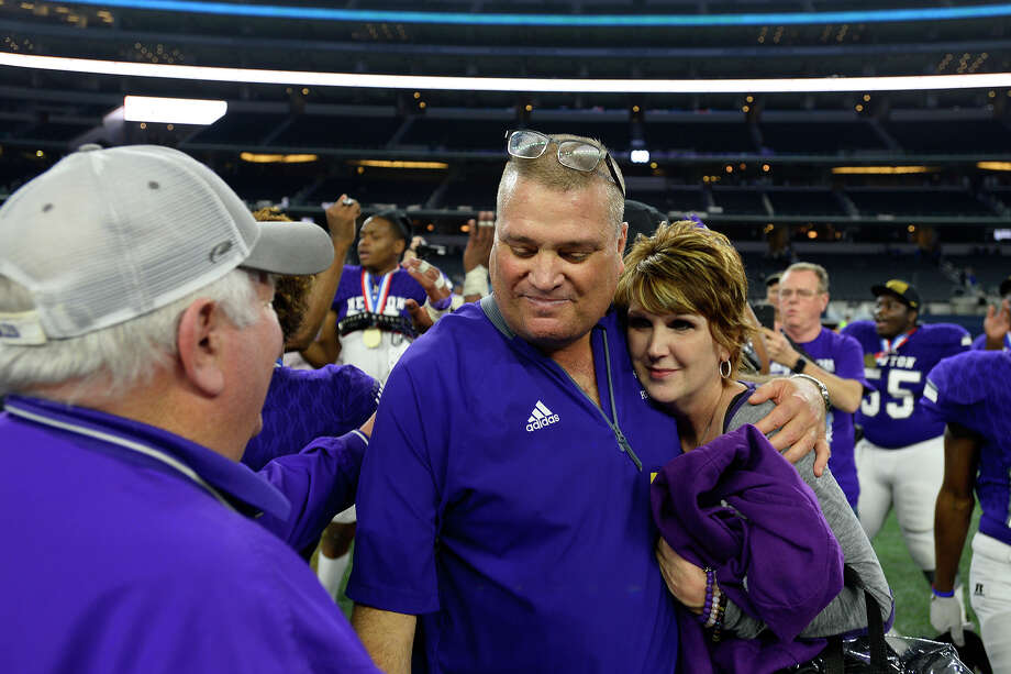 Newton head coach W.T. Johnston celebrates after defeating Gunter in the Class 3A Division II state final at AT&T Stadium in Arlington on Thursday evening.  Photo taken Thursday 12/21/17 Ryan Pelham/The Enterprise Photo: Ryan Pelham / ©2017 The Beaumont Enterprise/Ryan Pelham