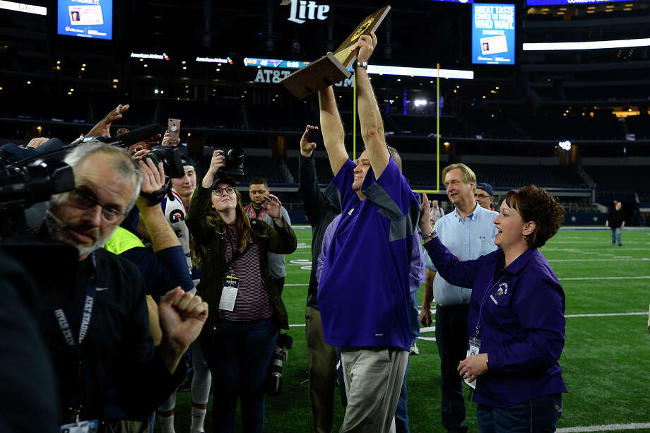 Newton football won its fourth state title in school history with a 40-16 victory over Gunter. It was quite the wild ride for Eagles coach W.T. Johnston. Photo: Ryan Pelham / ©2017 The Beaumont Enterprise/Ryan Pelham