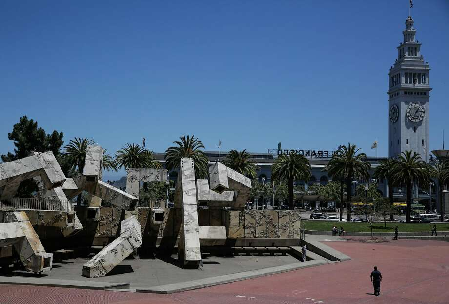 Justin Herman Plaza is being rechris tened   because of its namesake's role in displacing the poor and minorities. Photo: Gabrielle Lurie, The Chronicle