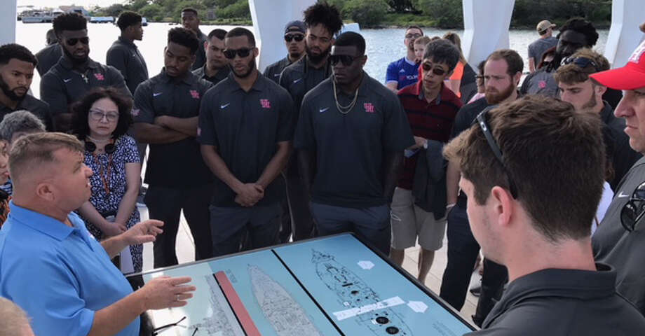 "The UH football team and staff members spent Thursday afternoon touring Pearl Harbor. One player said it was a ""once-in-a-lifetime experience."" Photo: Joseph Duarte"